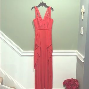 Coral floor length dress